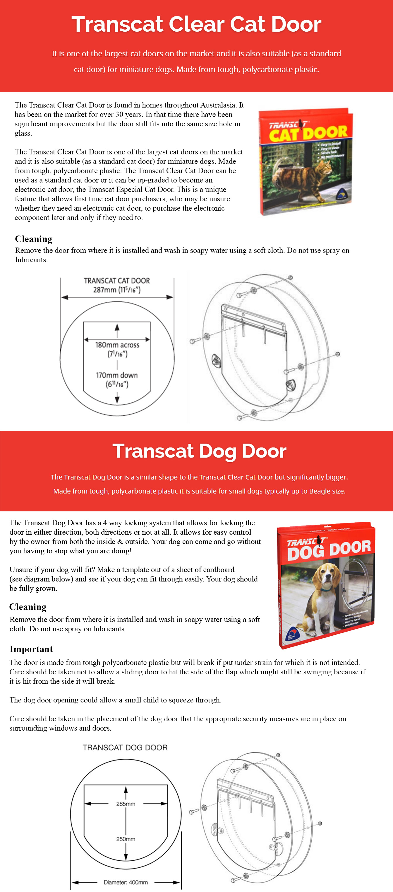 Bunbury City Glass | Dog / Cat Doors