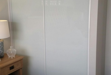 Sliding Robe Doors with White Glass Inserts | Bunbury City Glass