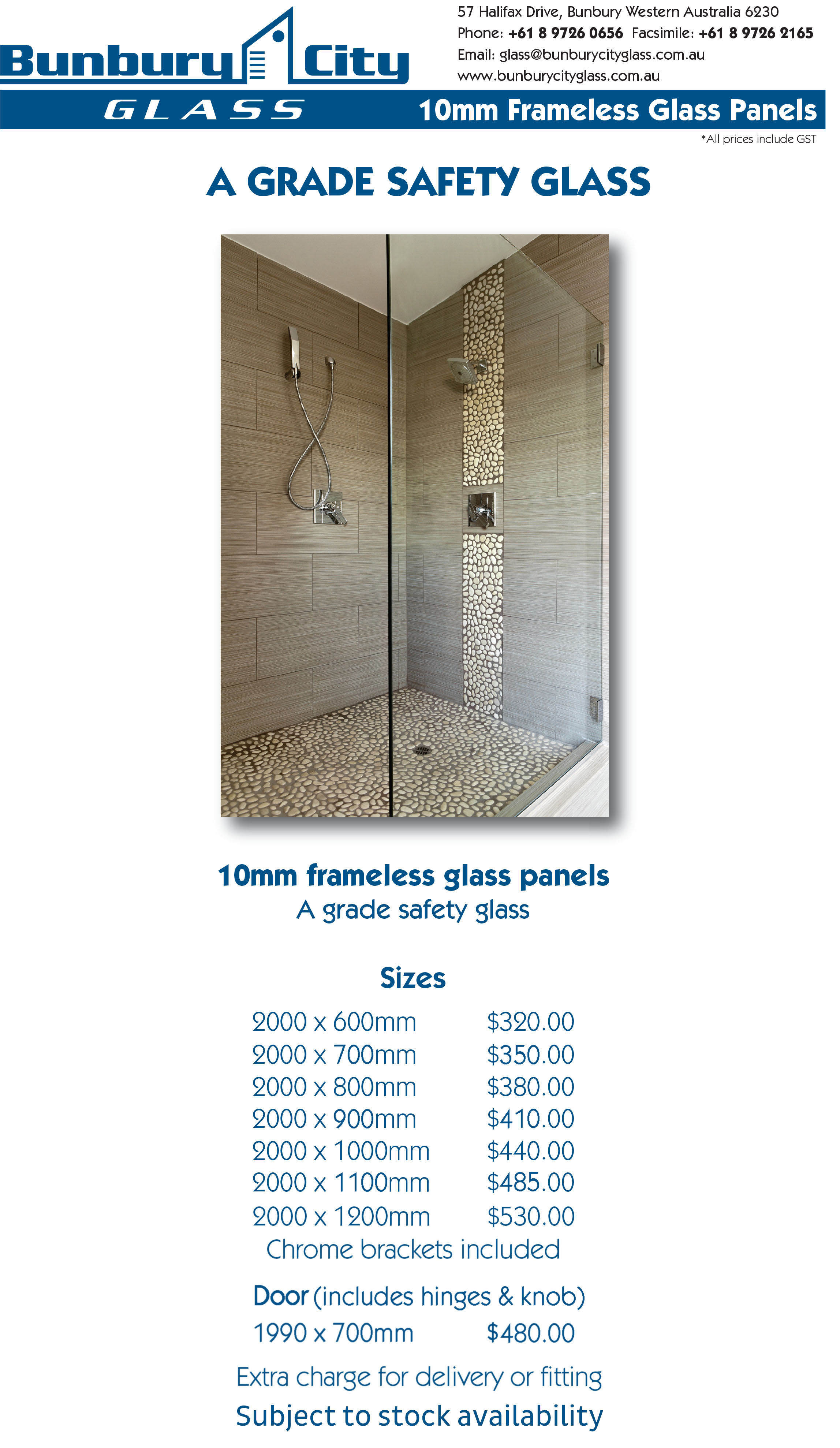 Bunbury City Glass | Showerscreens 10mm Standard Panels
